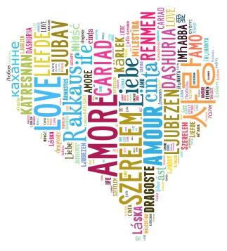 Tag Cloud Love in heart shape